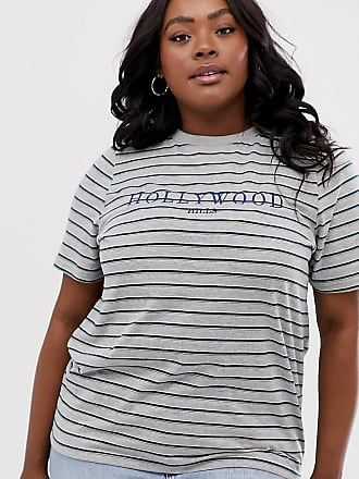 a19c79c2761d8 Daisy Street Plus oversized t-shirt in stripe with hollywood graphics -  Green