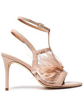 20f6c1a783ce56 Halston Heritage Halston Heritage Woman Tasha Feather-embellished Patent-leather  Sandals Blush Size 5.5