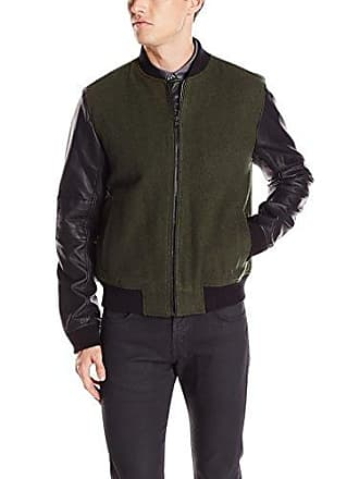 Kenneth Cole Reaction Mens Plthr Wool Bomber, Caper Combo, Medium
