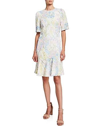 Iconic American Designer Floral-Stem Flounce Sheath Dress
