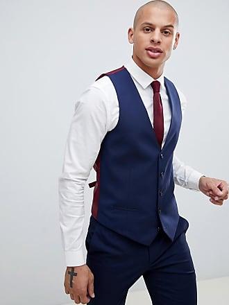 River Island wedding skinny fit suit waistcoat in navy
