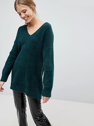 Bershka Brushed V Neck Oversized Sweater - Green