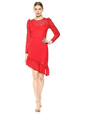 c12698aebe The Fifth Label Womens Pavillion Lace Longsleeve Asymmetrical Illusion Dress,  Red, s