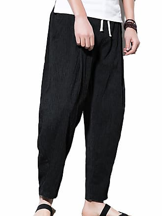 3cc697d6e6 Vdual Men Summer Casual Baggy Wide Leg Harem Pants Trousers with Pockets  Lightweight Comfortable Straight Fit