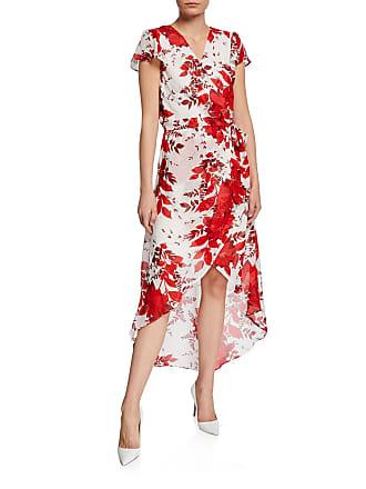 Julia Jordan Floral Faux-Wrap Chiffon High-Low Dress