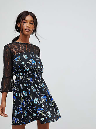Influence Lace Yoke And Sleeve Floral Skater Dress - Black