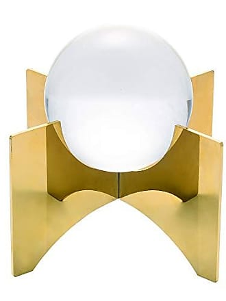 Sagebrook Home 12074-03 Crystal Orb On Base, Gold Metal, 7 x 7 x 7.5 Inches