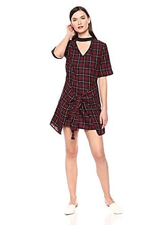 BCBGeneration Womens Front TIE Dress, Wine red Combo M