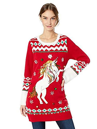 25262a986a046 Blizzard Bay Womens Long Sleeve Crew Neck Christmas Unicorn Tunic, red,  Large