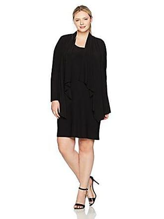 Jones New York Womens Plus Size Ls Cascade Mock Cardigan, Black 3X