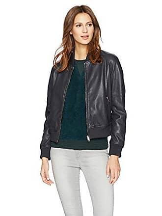 William Rast Womens Leather Washed Baseball Jacket, Slate Blue, S