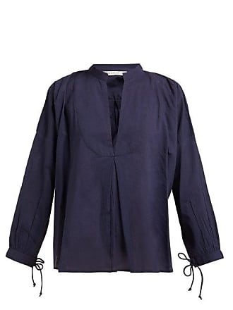 Queene and Belle Queene And Belle - Moon Pleat Front Cotton Voile Shirt - Womens - Navy