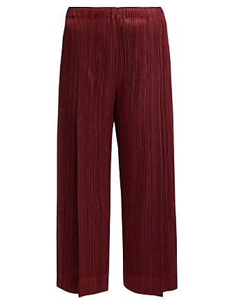 Pleats Please Issey Miyake Mid Rise Pleated Trousers - Womens - Burgundy