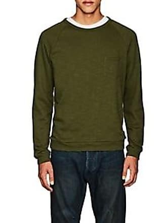 Barneys New York Mens Slub Cotton-Blend Terry Sweatshirt - Olive Size XS