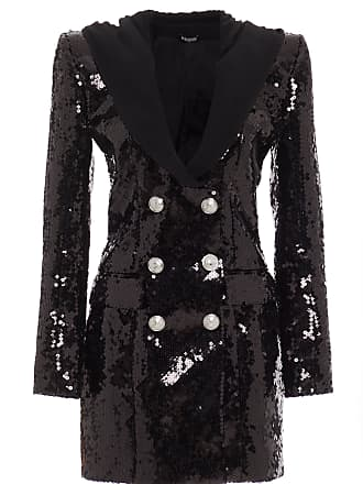 Balmain Sequined Hooded Double-Breasted Crepe Mini Dress