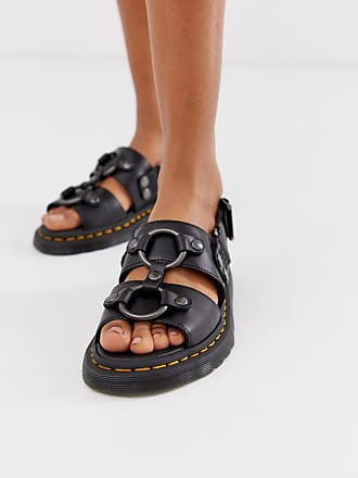 Dr. Martens Xabier hardware leather sandals in black - Black