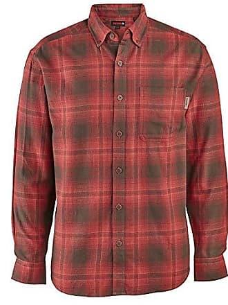 Wolverine Mens Hammond Long Sleeve Flannel Shirt, Dark red Plaid, X-Large