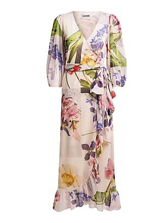 Ganni Tilden Floral Mesh Wrapped Maxi Dress White