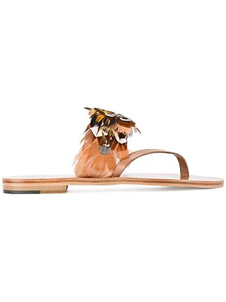 ÁLVARO GONZÁLEZ Multi Feather Alberta Sandals - Brown