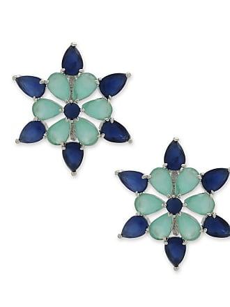 Renata Rancan Brinco Estrela Cravejado com Zircônias - Azul, Verde Piscina - Ródio Branco