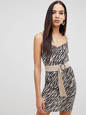 8242f22d83fd Asos Tall ASOS DESIGN Tall - Vestitino con cintura e stampa animalier -  Multicolore
