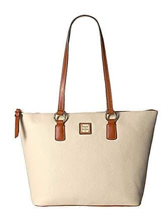 Dooney & Bourke Pebble Wren Zip Tote (Bone/Tan Trim) Tote Handbags