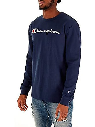 3d6e4a2a Champion LIFE Mens Heritage Long Sleeve Tee, Navy W/Embroidered Script,  Small