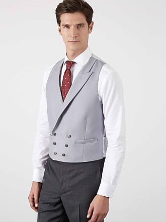 Hackett Mens Wool Double Breasted Morning Waistcoat | Size 40Regular | Ecru Beige