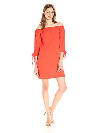 Vince Camuto Womens Crepe Off The Shoulder Shift Dress, Coral, 8