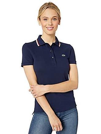 c7539fd25 Lacoste Womens S/S Slim FIT SEMI Fancy Polo, Navy Blue, 6