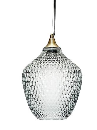Hübsch Glaslampa mässing/blå, hubsch