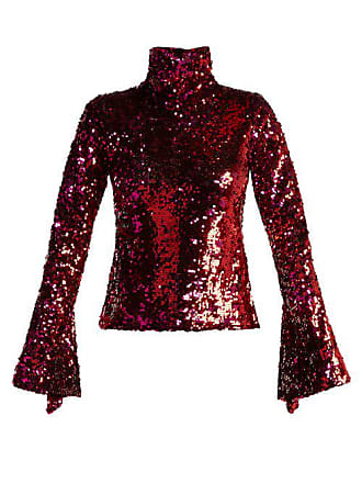 09933c61dd0 Halpern Sequin Embellished High Neck Top - Womens - Fuchsia
