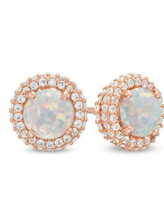 4f88d3ee5 Zales 6.0mm Lab-Created Opal and White Sapphire Stacked Frame Stud Earrings  in Sterling