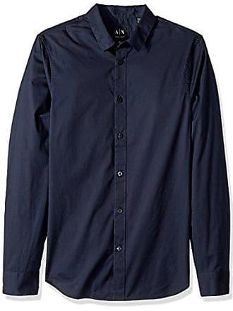 A|X Armani Exchange Mens Slim Cotton Button Down, Navy M