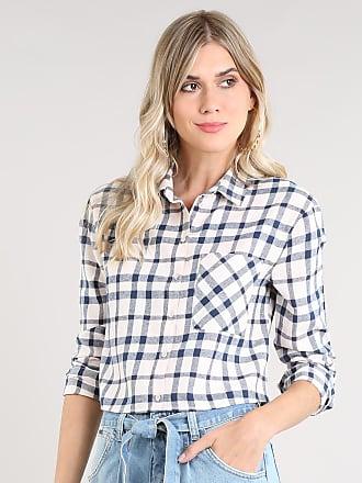 1c39170a4 C&A Camisa Feminina Cropped em Flanela Estampada Xadrez Manga Longa Rosê