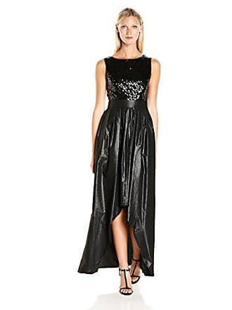 Ellen Tracy Womens Sequin Top High Low Gown, Black, 16