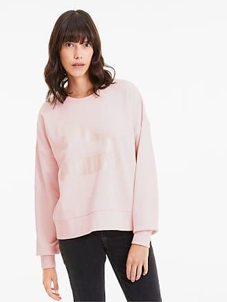 Puma Classics Logo Metallic Crew Womens Sweater Shirt, Rosewater/Metallic, size X Large, Clothing