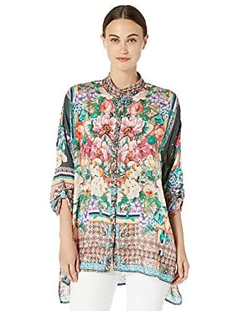 d8710bc769e Johnny Was Womens Oversized Patterned Silk Button Up with Collar, Multi, XXL