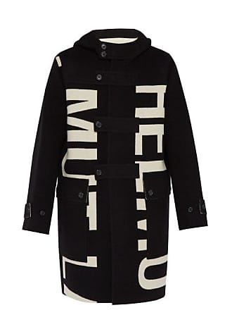 Helmut Lang Woven Logo Double Faced Wool Coat - Mens - Black White