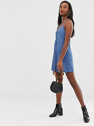 91aac7a9c63219 Asos Tall ASOS DESIGN Tall denim halter neck mini dress with buttons in  midwash blue -