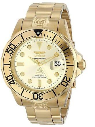 Zales Mens Invicta Pro Diver Automatic Gold-Tone Watch with Champagne Dial (Model: 3051)