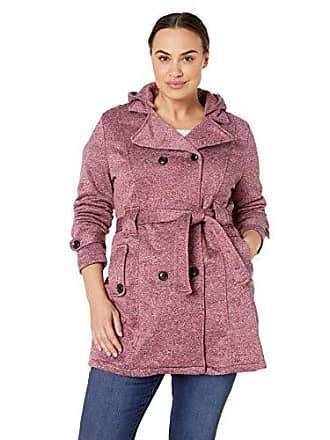 Yoki Womens Plus Size Double Breast Long Fleece Jacket, Burgundy Space DYE 2X