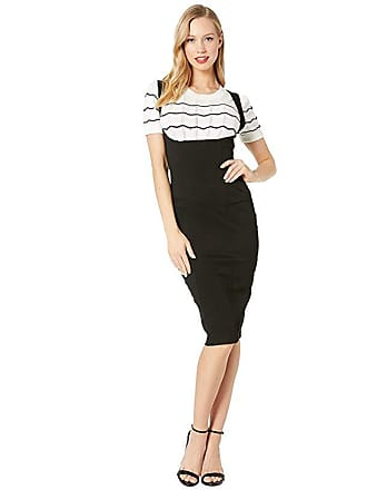 Unique Vintage Stretch High-Waisted Fontaine Suspender Pencil Skirt (Black) Womens Skirt