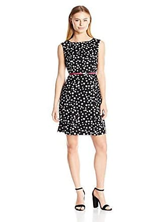 Adrianna Papell Womens Cotton Faille Fit and Flare Petite, Black/Ivory, 14P