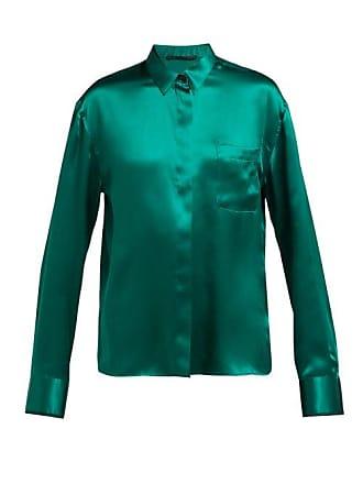 Haider Ackermann Lustrous Soutache Silk Blouse - Womens - Dark Green