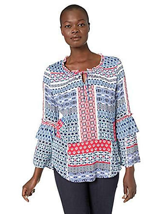Tribal Womens Long Sleeve Blouse with Ruffle Detail, Melon, L