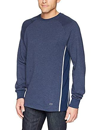 2(x)ist Mens Colorblock Crewneck Pullover with Mesh Detail Sweater, Estate Blue Heather/Heather Grey, Small