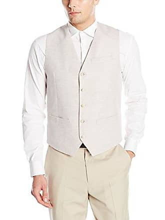 Perry Ellis Mens Suit Vest, Natural Linen, Medium