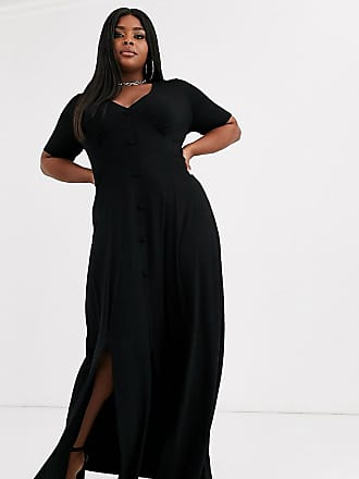 Asos Curve ASOS DESIGN Curve - Vestito da giorno lungo con bottoni e spacchi-Nero