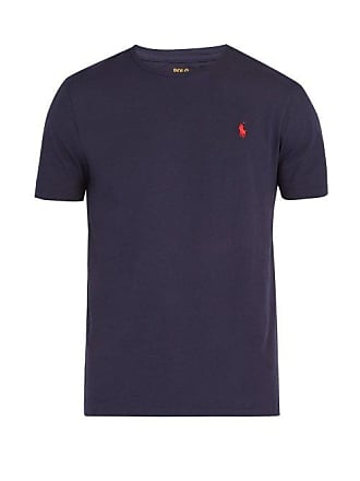 Polo Ralph Lauren Logo Embroidered Cotton Jersey T Shirt - Mens - Navy